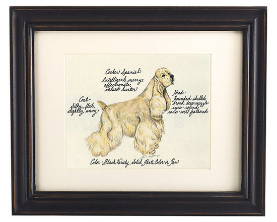 Ballard Designs - Cocker Spaniel Blonde Dog Print - Our Cocker Spaniel Blonde Dog Print was created by the dog-loving, husband and wife team of Vivienne and Sponge. The Cocker Spaniel is known for being intelligent, merry, affectionate, and a valued hunter. Each Cocker Spaniel Blonde portrait is hand colored and embellished with notes on the breed's special characteristics. Printed on antiqued parchment, signed by the artists and framed in antique black wood with eggshell mat and glass front. Cocker Spaniel Dog Print features:Hand colored & signed . Printed on parchment. Eggshell mat. Antique black frame