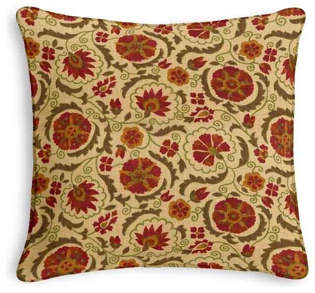 Red & Beige Suzani Corded Pillow - Eclectic - Decorative Pillows - by Loom Decor