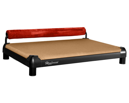 DoggySnooze - snoozeSleeper, Anodized Frame, 1 Bolster Red - Designed for the discerning dog (you know the one — he'd be on your couch all day if you'd let him), this slightly elevated designer dog bed, in an anodized black frame, lets your pooch stretch out and relax. Choose the bolster color that complements your decor the best. Made in the USA.
