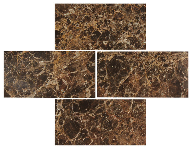 Marble kitchen table - Dark Emperador 3x6 Polished Marble Subway Tile
