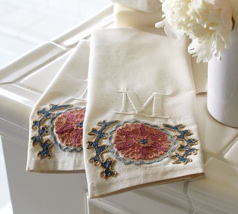 Suzani Embroidered Guest Towels, Set of 2 towels