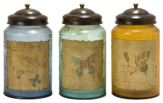 worldly butterfly glass canisters set of 3 rustic polystone glass canister set of 3 rustic kitchen