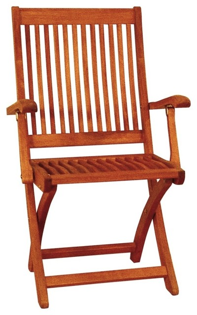 Traditional Eucalyptus Outdoor Folding Chair farmhouse-outdoor-chairs