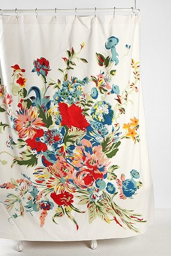 Romantic Floral Scarf Shower Curtain eclectic shower curtains