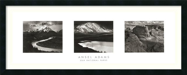 Our National Parks (Triptych) Framed Print by Ansel Adams traditional-prints-and-posters