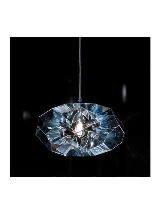 Viso - Diamond Pendant - Diamond Pendant features a Clear intricate designed shade that creates defined light reflection with a Silver finish. One 100 watt, 120 volt A19 type Medium base incandescent bulb is required, but not included. ETL listed. 24 inch width x 13.6 inch height x 117 inch maximum length.