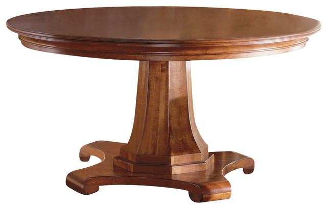 Kincaid tuscano solid wood round pedestal table for Large round solid wood dining table