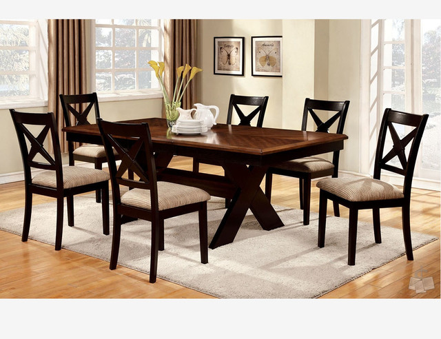pc oak black wood dining set 18 leaf table chairs fabic seat cross