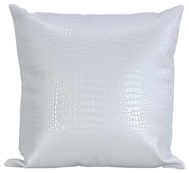 croc faux leather decorative throw pillow white 20x20