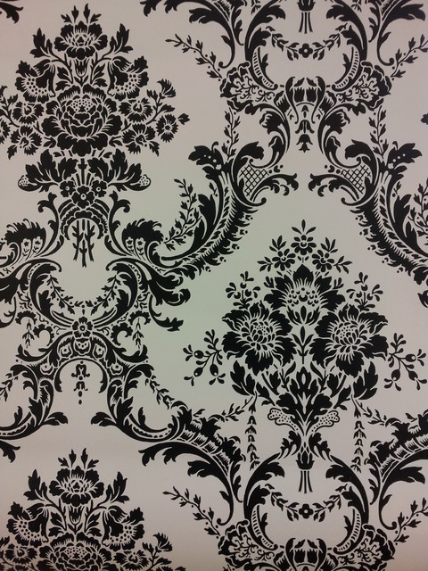Black and white damask wallpaper eclectic wallpaper for Black white damask wallpaper mural