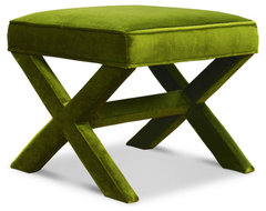 Jonathan Adler X-bench, Ireland Avocado modern ottomans and cubes