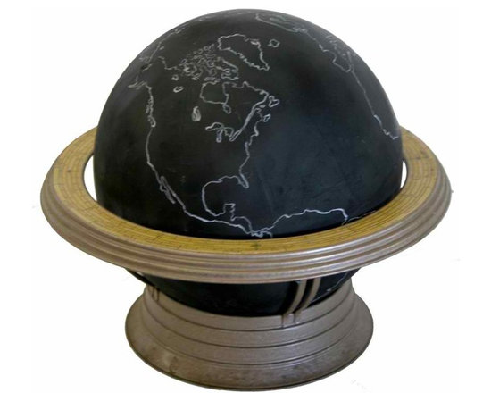 Black Terrestrial School Globe - This  12inches black school globe  was used in classroom   like a blackboard  to write the name of the country and geographic details  with a chalk .When done you could just erase everything and start all over  again.