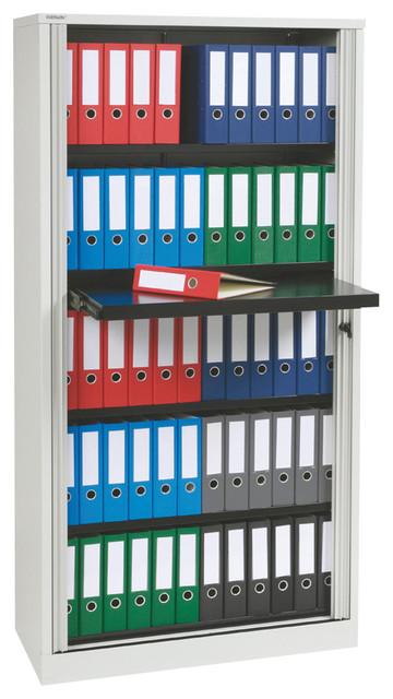 Bisley 78 Inch Binder Storage Tambour Cabinet in Light Gray Steel - Traditional - Filing ...