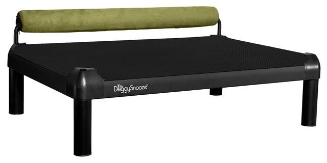 snoozeSleeper, Anodized Frame, Long Legs, 1 Bolster Grn modern-pet-supplies