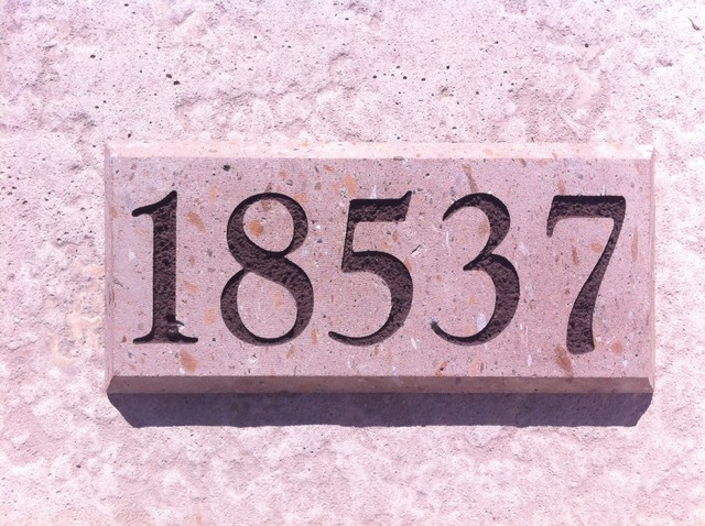 Address stone marker for Mediterranean house numbers