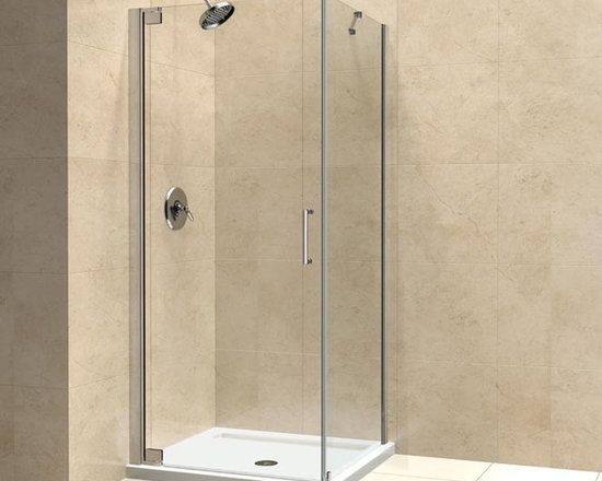 "DreamLine Elegance 34"" x 30"" With Support Arm Shower Enclosure SHEN-4134300 - The ELEGANCE shower enclosure combines clean minimal styling with exceptional quality. Opulent 3/8"" thick tempered glass and a fluid frameless design create a prefect mix of strength and beauty. The corner installation maximizes space and becomes the heart of a bathroom design, while minimal hardware generates an open and airy appeal."