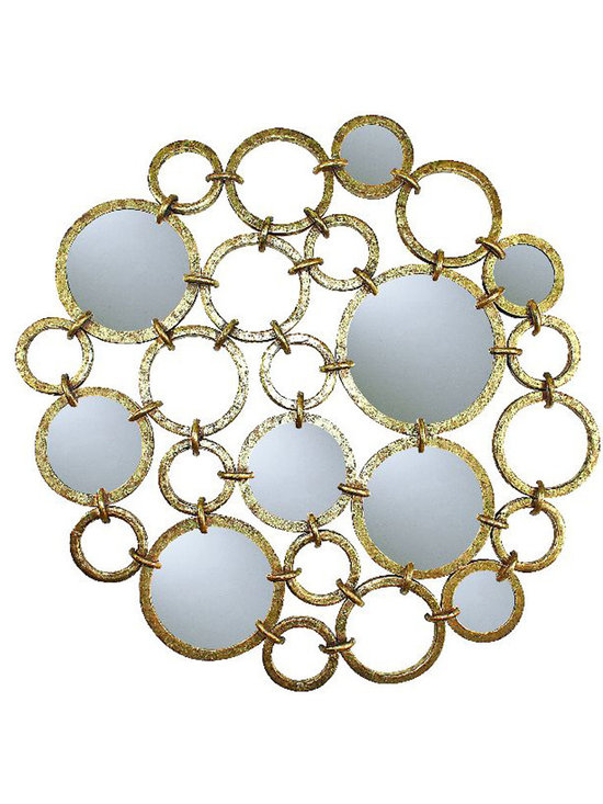 Circle Design Wall Décor with Mirror Accents - Accent pieces in transitional style homes often sport mirrored, glass and metallic finishes for a sophisticated look. This Circle Design Wall Decor with Mirror Accents is hand constructed by master craftsmen of iron and mirror and is a lovely piece of wall decor in a transitional home.