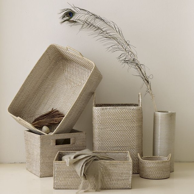 Whitewash Modern Weave Collection modern-storage-bins-and-boxes