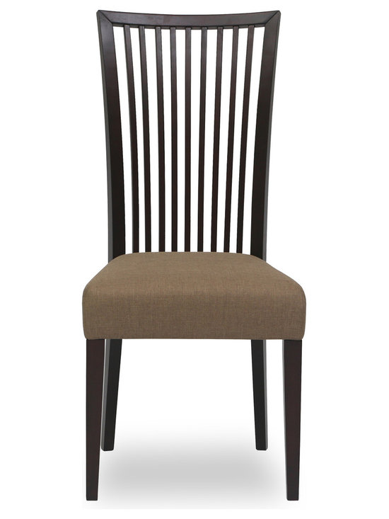 Bryght - Carolina Latte Fabric Upholstered Light Cappuccino Dining Chair - The Carolina dining chair showcases a simple time honored linear slat back design - a treat for the trendy and traditional household alike. Gently curved wooden high back and a cushioned seat provides adequate support for a relaxed sit. The Carolina dining chair is perfect for everyday use or dinner parties.
