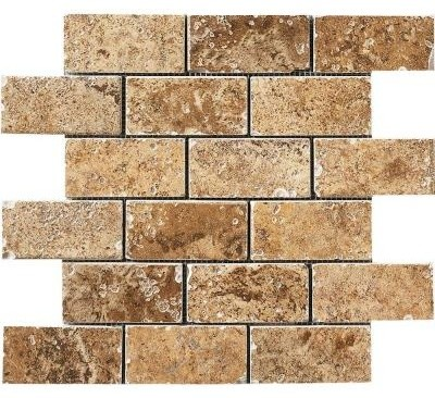 Porcelain Mosaic Tile: : Montagna 12 in. x 12 in. Belluno Noce Mesh-Mounted UGA4 contemporary-tile