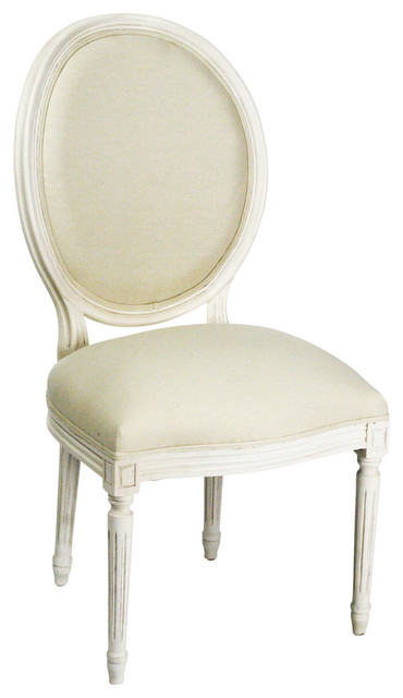 High Quality Medallion Side Chair White Antique White Traditional