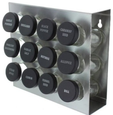 Stainless Steel 12-Spice Rack contemporary-spice-jars-and-spice-racks
