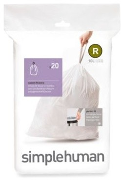 simplehuman 10-Liter Sure-Fit R Bin Liner contemporary-kitchen-trash-cans