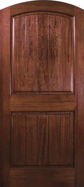 Slab house single door 80 wood mahogany 2 panel v grooved for Single door design for home
