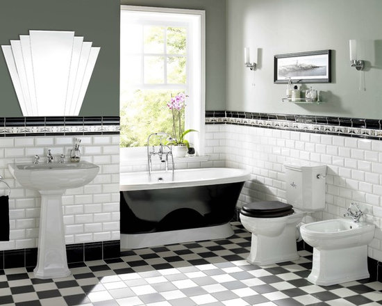 The Artworks Collection - Wall and floor tiles in the Art Deco style from Original Style's Artworks collection. Featuring decorative borders and timeless subway tiles in Brilliant White.