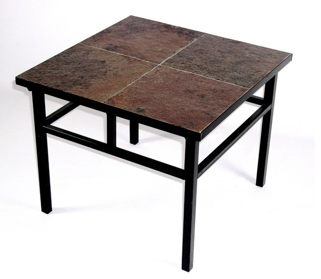 4D Concepts 601624 End Table w/ Slate Top in Black Metal rustic-side-tables-and-end-tables