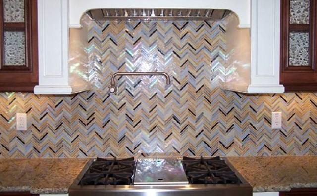 rainbow herringbone pattern glass kitchen backsplash