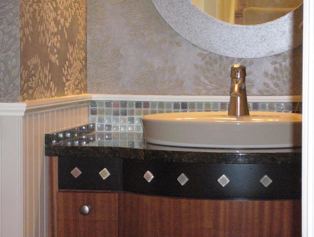 powder room backsplash vanity detail transitional bathroom