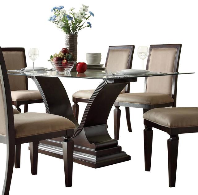 Homelegance Plano Rectangular Glass Dining Table With U Shaped Base Traditi
