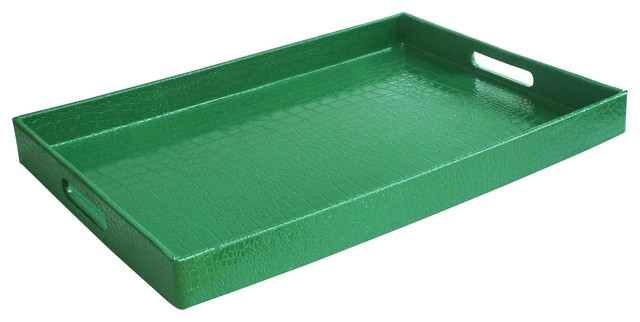 Rectangular Tray, Green contemporary-serving-trays