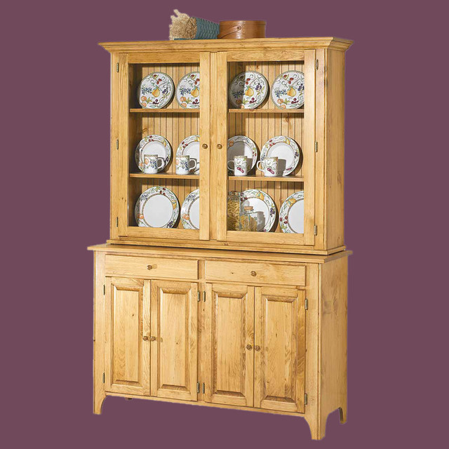 Hutches UnFinished Pine Walden Glass Hutch Top Only | 666838 - Traditional - China Cabinets And ...
