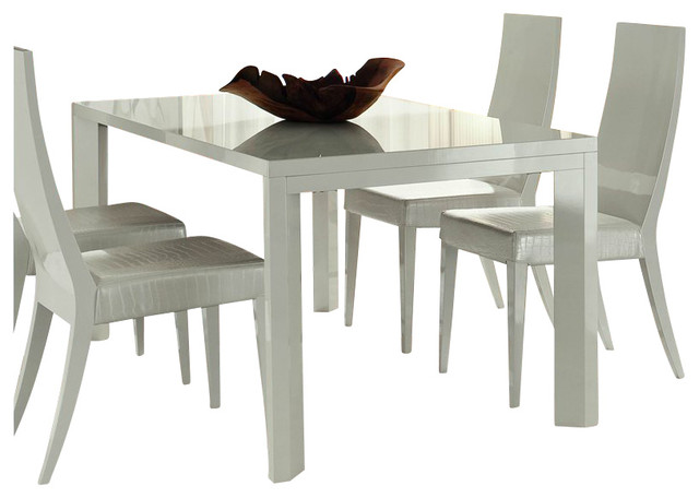 Rossetto Nightfly 5 Piece Rectangular Dining Table Set in White transitional-dining-sets