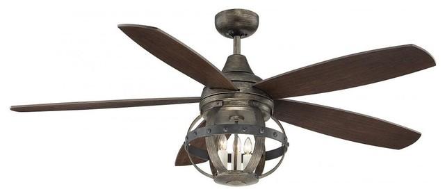 Three Light Reclaimed Wood Ceiling Fan Transitional