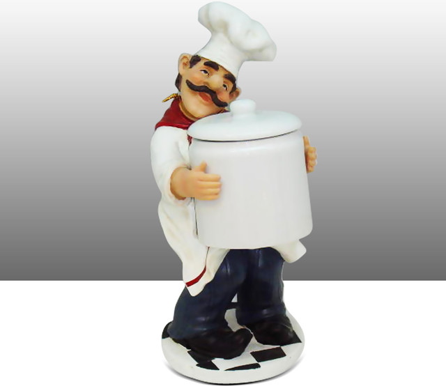 Large Fat Chef Kitchen Statue Figure Holding Jar - Traditional - Kitchen Canisters And Jars - by ...