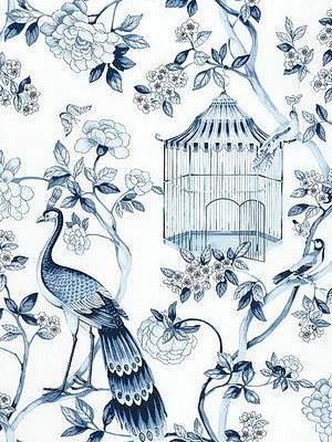 Oiseaux et Fleurs Wallpaper, Porcelain asian-wallpaper