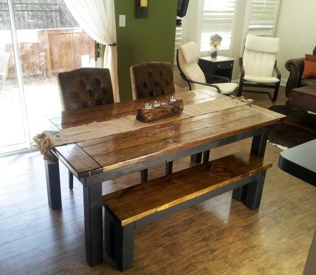 James James 6 Farmhouse table in Dark Walnut and Black with endcaps