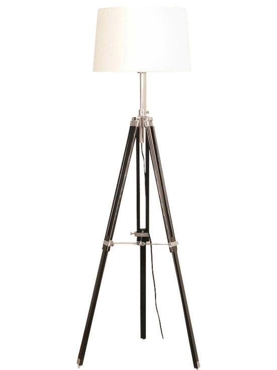 Joshua Marshal - Chrome Jiordano 1 Light Tripod Lamp - Finish: Black
