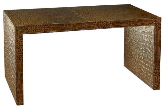Italian Leather Writing Desk/Console Table - Contemporary - Desks And