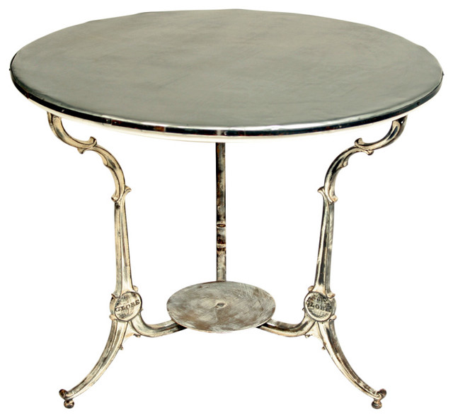 49 Coffee Table Nickel Finish Solid Iron Casters: Zinc Topped Cast Iron Base Cafe Table