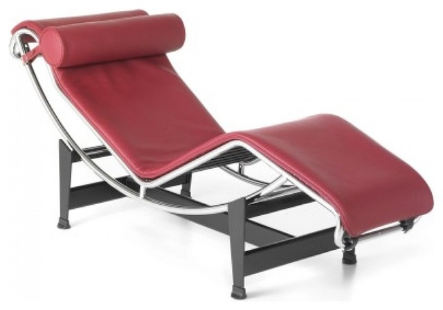 Le Corbusier LC4 Style Lounge Chair - Aniline Leather, Red modern-indoor-chaise-lounge-chairs
