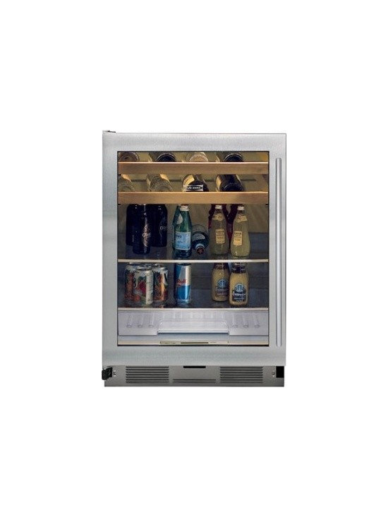 Sub-Zero Beverage Center - Model UC24BGS, this is a great beverage center by Sub-Zero.  The beverage is available in classic stainless steel as seen on the right side of the picture or also with an overlay.  It allows you to bring refrigeration anywhere you need it and can be built-in to your cabinets.