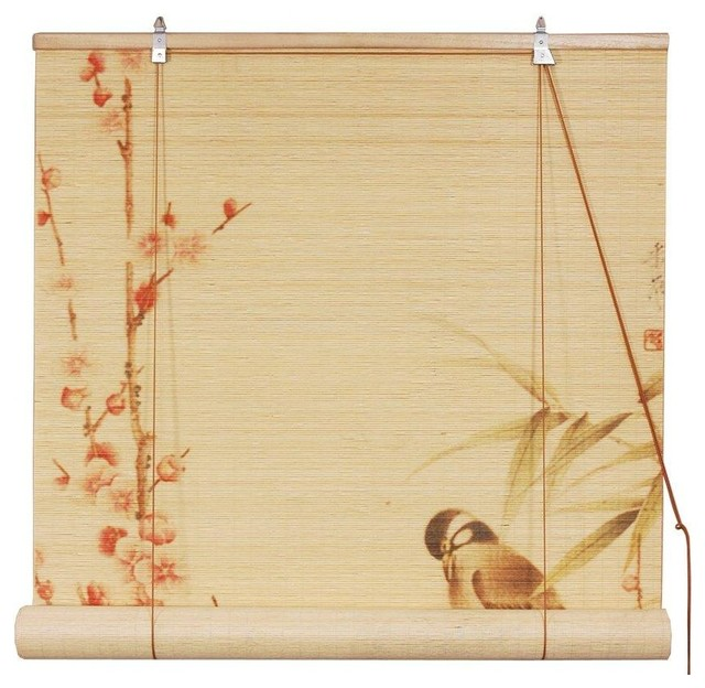 Love Birds Bamboo Blinds - (48 in. x 72 in.) traditional-roller-shades
