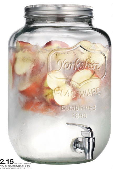 Yorkshire Glass Mason Jar Beverage Dispenser traditional-cups-and-glassware