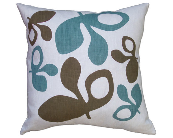 Balanced Design - Hand Printed Linen Pillow - Pods, Blue/Chocolate, 16 x 16 - -Graphic, modern patterns -Hand printed in Rhode Island, on 100% soft white linen -Eco-friendly inserts (50% regenerated fiber made from recycled plastic bottles, 50% 95/5 feather)  -Zipper closure  -Wash in cold water, line dry.  -Sewn in Massachusetts  -Imported Fabric
