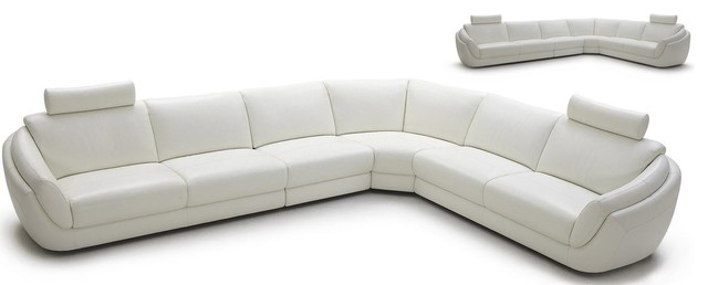 1377 Full White Top Grain Italian Leather Sectional Sofa modern-sectional-sofas