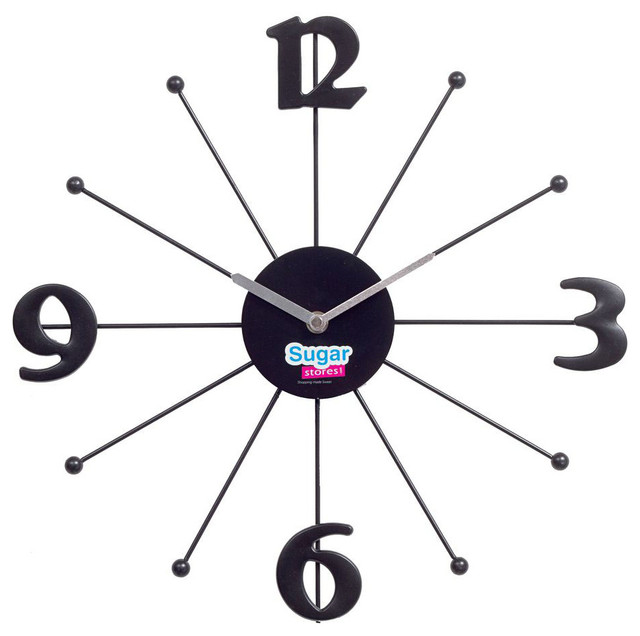 Shopping Wall Clock In Black Contemporary Wall Clocks By Modern Furnitu